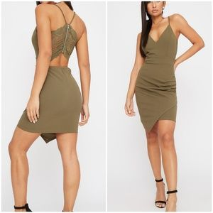 NWT Open Lace Back Mini Dress Olive